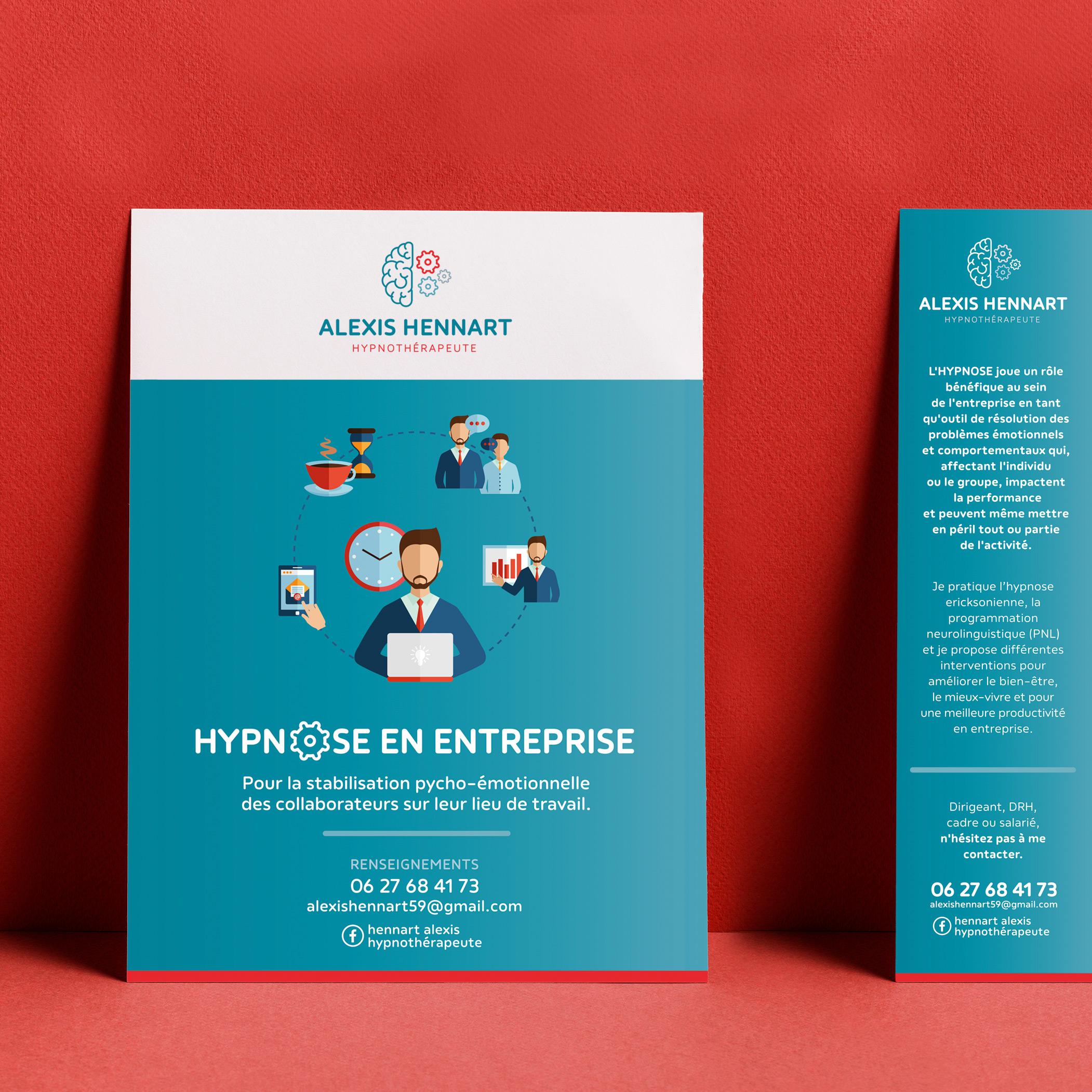 ALEXIS HENNART, Hypnothérapeute en entreprise - Identité visuelle, carte de visite, flyer et affiche - Bob & Simone
